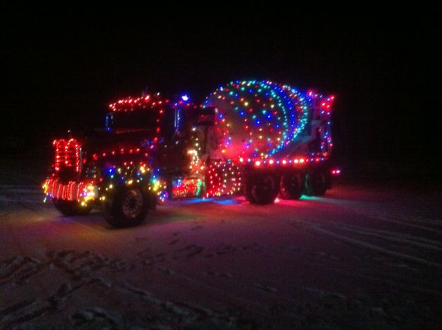 Truck with Christmas lights